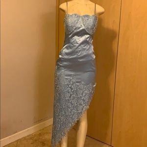 Blue diagonal crystal dress